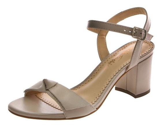 Sandália Salto Largo Rose