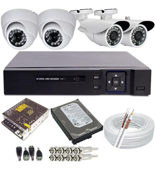 Kit 04 Câmeras Segurança Hd 720p Dvr 4ch Acesso Celular