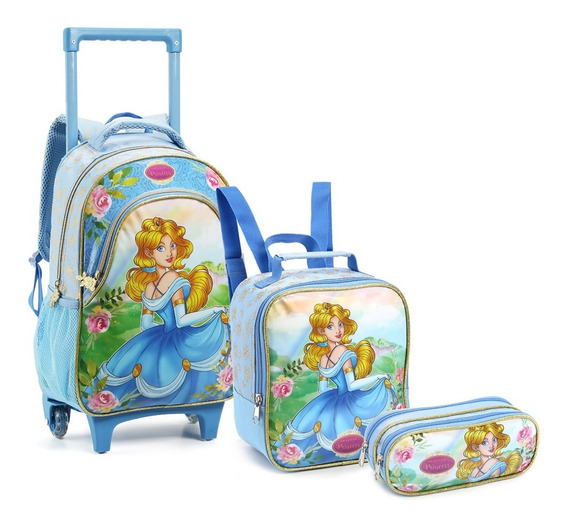 Kit Mochila Escolar Infantil Princesas Lux C/ Rodinhas Nova
