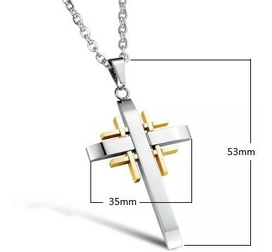 Colar Masculino Aço Inox 316l Corrente Pingente Crucifixo