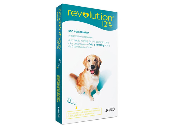 Revolution 12% Cães 20,1-40kg - 1 Pipeta