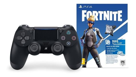 Controle Playstation Dualshock 4 Preto+voucher Fortnite- Ps4