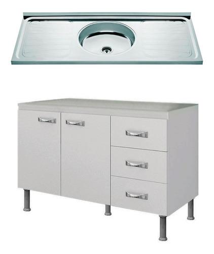 Imagen 1 de 5 de Mueble Cocina Bajo Mesada Bw1 + Pileta De 1.20 Acero Inox