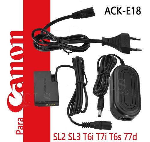 Imagem 1 de 8 de Fonte Ack-e18 Adaptador Ac P/ Canon Sl2 Sl3 T6i T6s T7i 77d