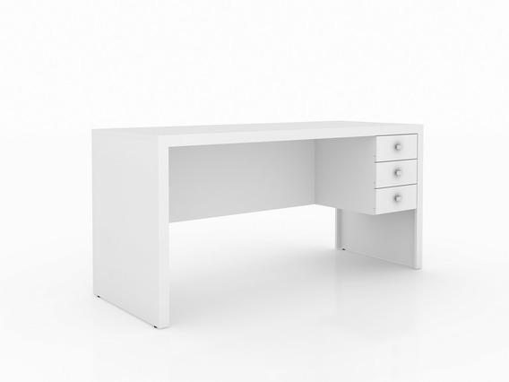 Mesa Para Escritório Branco Com 3 Gavetas