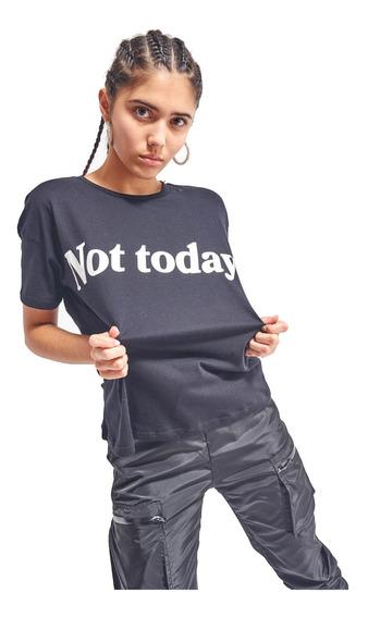 Remera Not Today Larga Con Manga Corta Mujer 47street