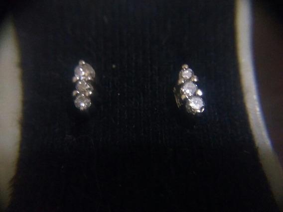 Broqueles De Oro Blanco De 10k Con Diamantes Naturales