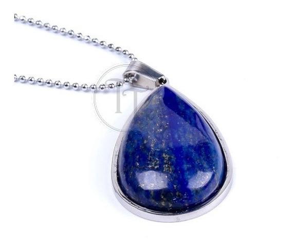 Collar Lapislázuli Natural Titanio 18k Drop