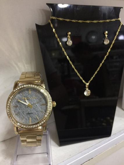 Relógio Feminino Dourado Kit Colar E Brincos Barato Atacado