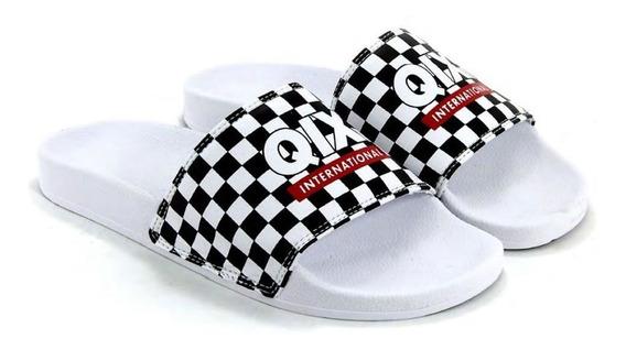 Chinelo Slide Branco/quadriculado 100% Original Qix Promoção
