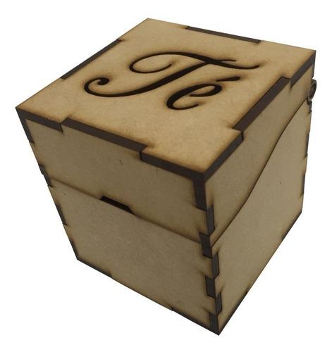 Caja De Te Mini 7x7x7,5 Cm Ideal Souvenir Fibrofacil 3mm