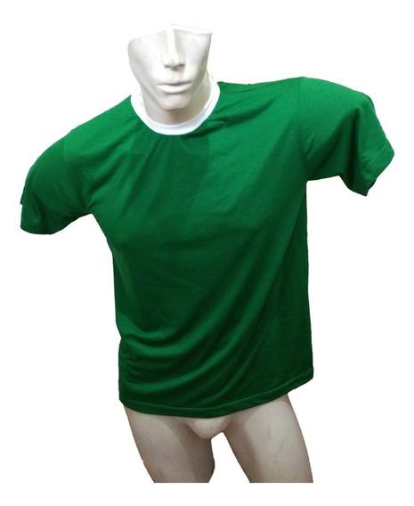 Camiseta Masculina Pv Verde Com Gola Branca