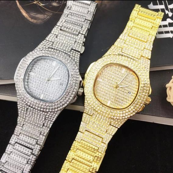 Relógio Cravejado Prata E Dourado Trapstar