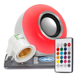 Lampada Bluetooth Led Rgb Branco Caixa Som Musical Bulbo