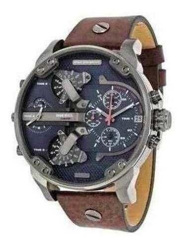 Relógio Az020 Diesel Mr. Daddy Dz7314 Couro E Promoção Cinza
