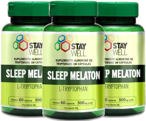 03 Unidades Do Sleep Melaton 500mg - Stay Well - 60 Cápsulas