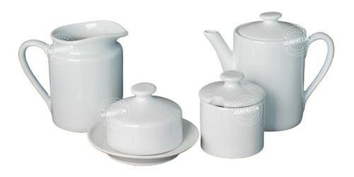 Jogo Café Da Manha Porcelana Branca Bule, Leiteira, Mantegue