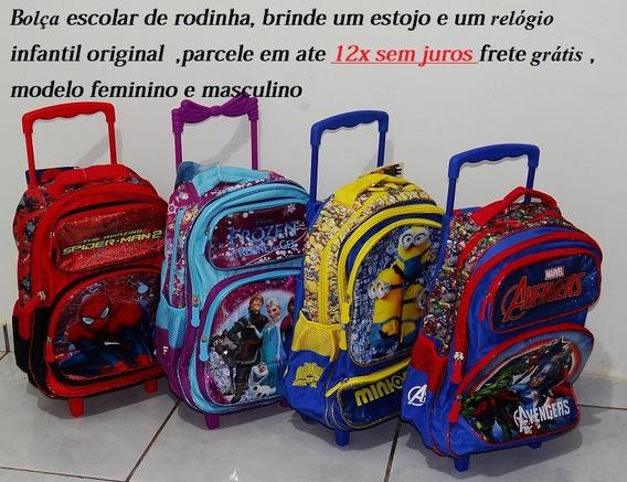 Bolsa Escolar Com Rodinhas + Brinde Estojo