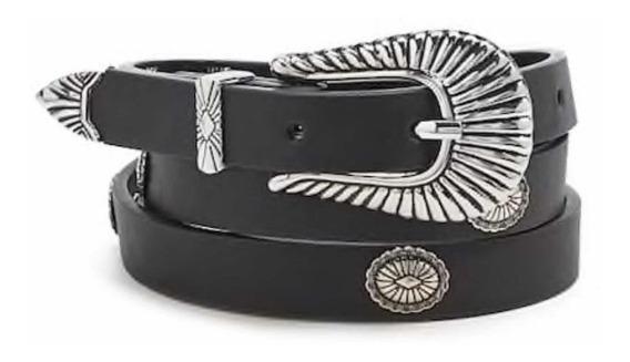 Cinturón Fino Grabado Negro