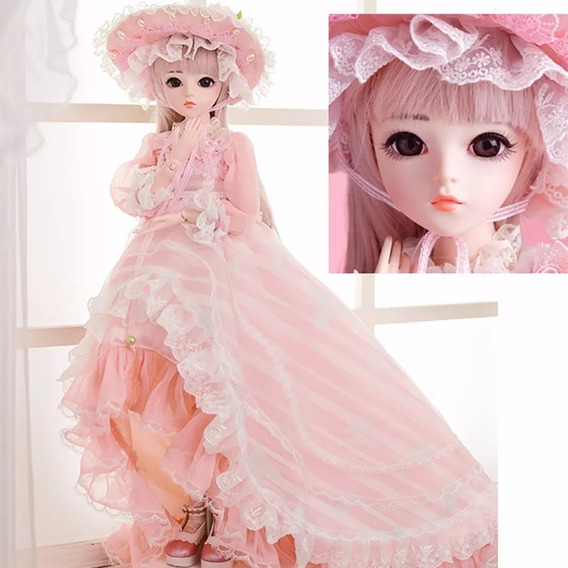 Boneca Princesa Bjd Completa, 60 Cm!