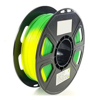 Filamento Pla 1.75 Cambia Color Verde Amarillo Impresora 3d