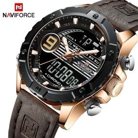 Relógio Masculino Naviforce® 9146 Couro Analógico E Digital