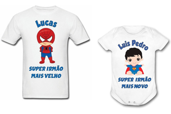 Kit Camiseta E Body Super Irmão Mais Velho E Irmã Mais Novo