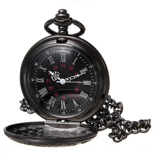 Relógio De Bolso Retro Vintage Steampunk Preto Com Corrente