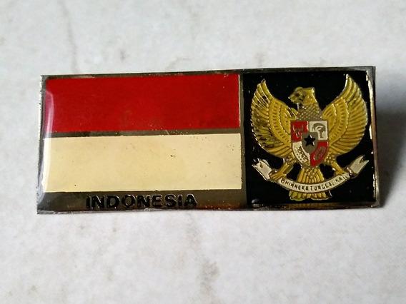 Prendedor Antiguo Pin Coleccion Indonesia Escudo Y Bandera