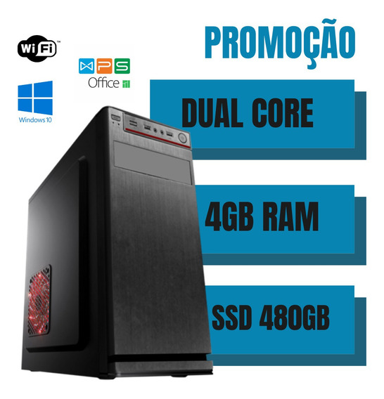 Cpu Monada Dual Core 4gb Ram Ssd 480gb Win10 Programas