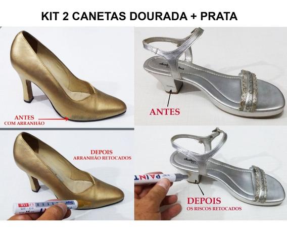 Caneta Tira Riscos De Sapatos-tenis-botas Kit Dourada+prata
