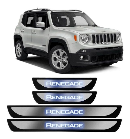 Protetor Porta Jeep Renegade 2015 A 2020 Inox Iluminada Led