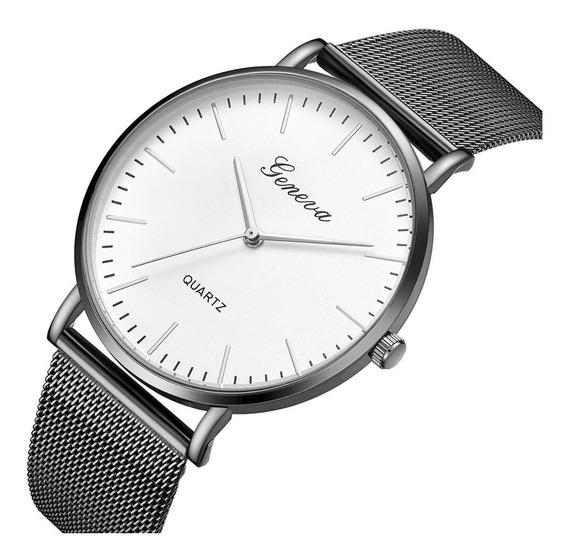 Relógio Geneva Unissex Social Elegante Básico Branco Rosê