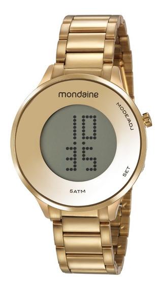 Relógio Mondaine Feminino Digital Dourado Slim Lançamento