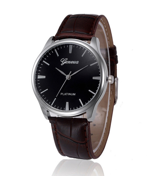 Relógio Couro Unissex Listra Aço Fundo Preto M015 M016