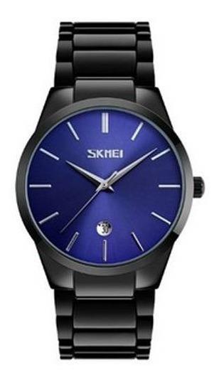Relógio Masculino Skmei Analógico 9140 Preto Fundo Azul