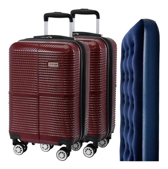 Conjunto De Malas Para Viagem Exeway Com Rodízios 360° 2 Peças, Vinho + Colchão Inflável Bestway Solteiro, Azul