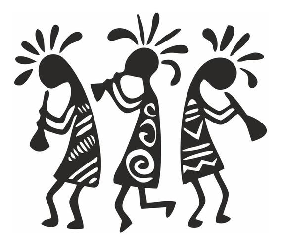 Vinilo Decorativo Negritos Aztecas Pared Musico