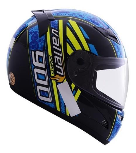 Capacete Moto Vallen 900 Preto/azul 56