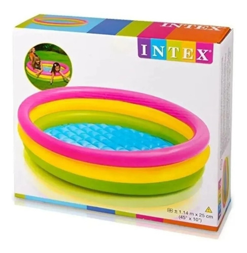 Piscina Tricolor 3 Aros 1,47 Cms Inflable Intex Niños