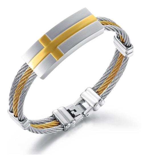 Bracelete Pulseira Masculina Aco Inoxidavel Banhado A Ouro