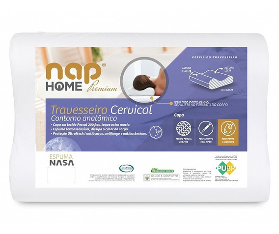 Travesseiro Cervical Nasa Premium Nap Home Capa Impermeável