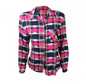 Blusa Camisa Xadrez Feminina Manga Longa