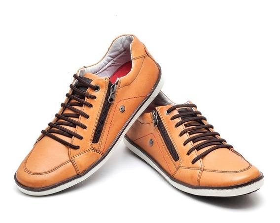Sapato Sapatênis Cano Baixo Em Couro Com Zíper Lateral