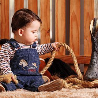Conjunto Jardineira E Body Manga Longa - Pequeno Cowboy