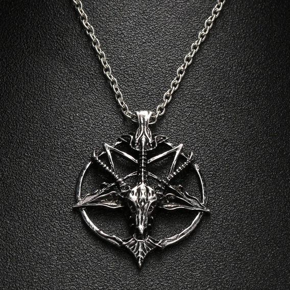 Colar Satânico Pentagrama Invertido Cabeça Cabra Baphomet