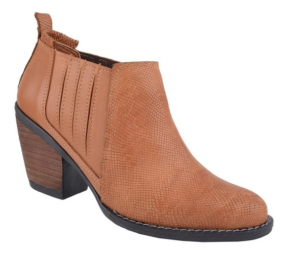 Botita Cuero Reptil Calzado Mujer Riot Zapatos