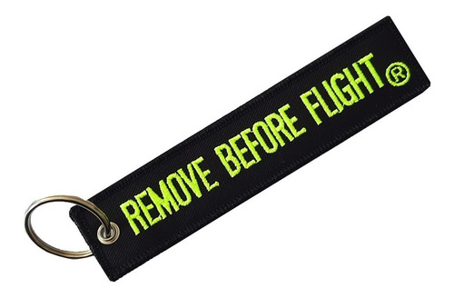 Llavero Remove Before Flight Verde Fluor
