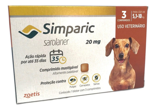 Imagem 1 de 1 de Simparic Para Cães De  5 A 10 Kg - Antipulgas  3 Comprimidos