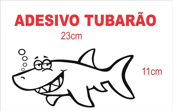 Adesivo Tubarão Caricatura ( Preto ) Personalizado